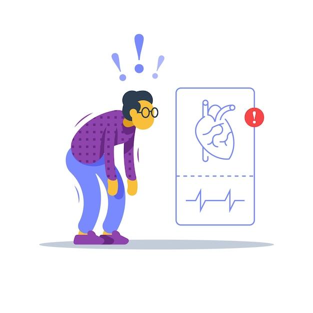 Проверка здоровья пожилой женщины, медицинская процедура для пожилых пациентов, обследование сердечных заболеваний, обследование сердечно-сосудистой системы, программа профилактики гипертонии, оценка риска инсульта, плоская иллюстрация Premium векторы