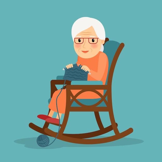 Old woman knitting Premium Vector