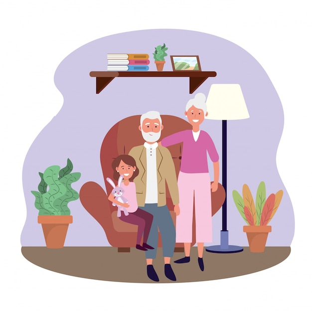 Old woman and man with granddauhter in the chair Free Vector
