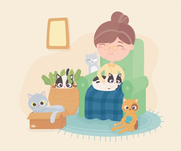 Old woman sitting in chair with her cat and others playing room illustration Premium Vector
