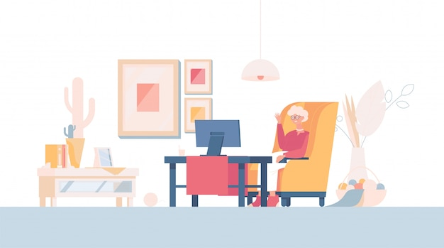 Old woman talk via video conference or watch tv   cartoon illustration. grandmother at home. Premium Vector