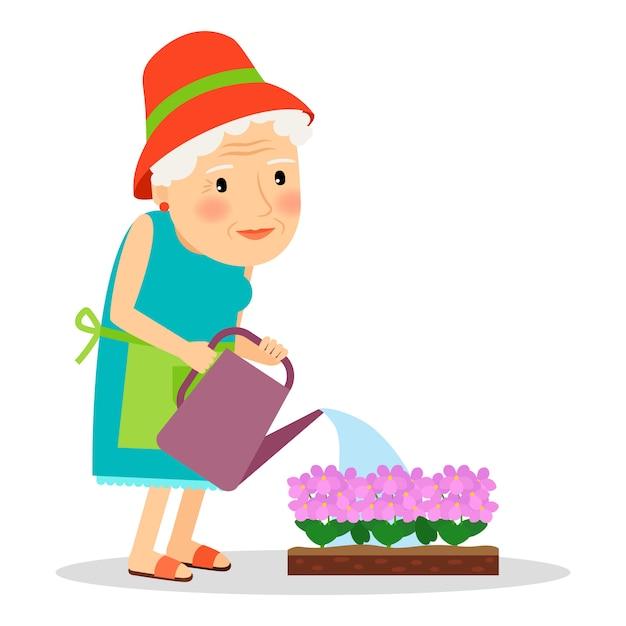 Old woman watering flowers Premium Vector