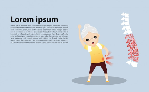 Old woman with osteoporosis template Premium Vector