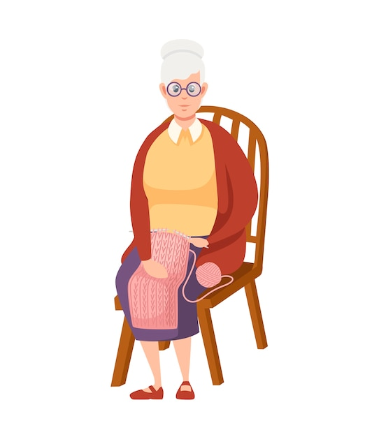 Old women sit on chair cartoon design senior woman in casual clothes Premium Vector