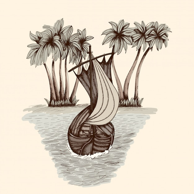 Old wooden boat with a mast and sail on the sea waves. simple hand drawing. Premium Vector