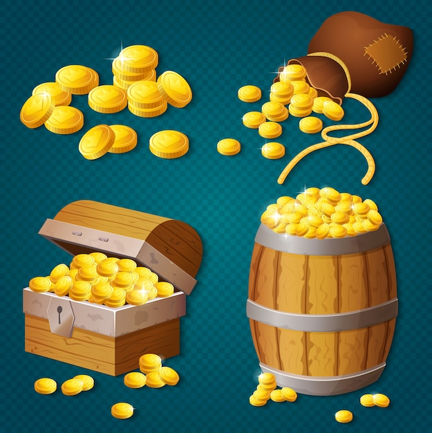 Old wooden chest, barrel, old bag with gold coins. game style treasure vector illustration. Premium Vector
