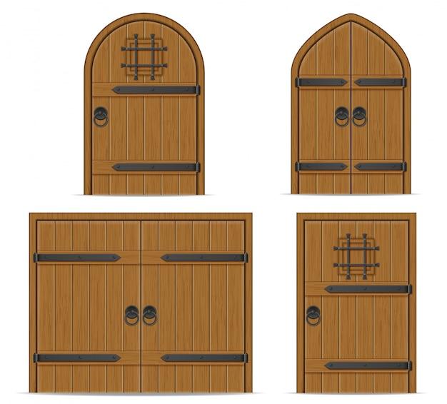 Old wooden door vector illustration Premium Vector