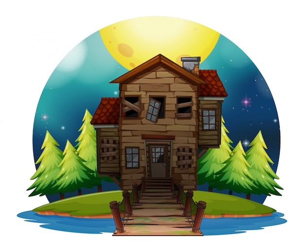島の古い木の家 Premiumベクター
