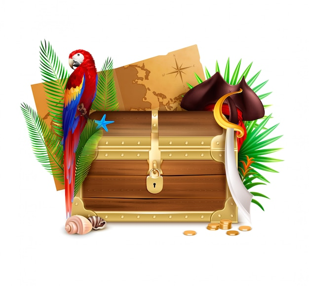 Old wooden pirate chest realistic composition with  golden coins palm tree branches parrot and map illustration Free Vector