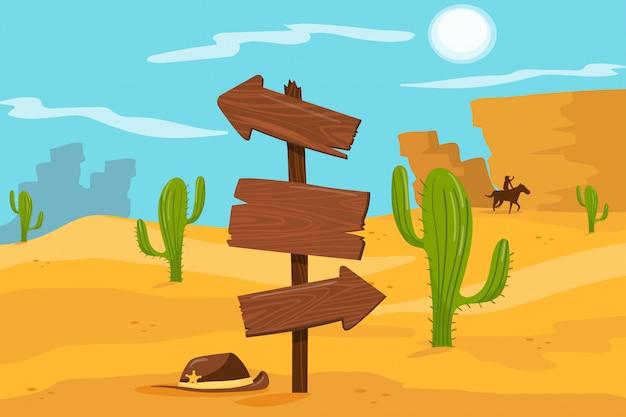 Old wooden road sign standing on desert landscape background  illustration, cartoon style Premium Vector