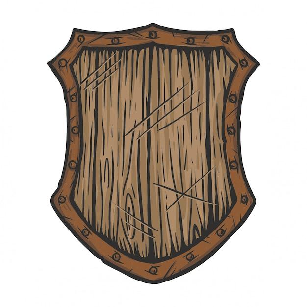 Old wooden shield Premium Vector