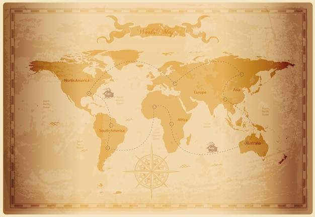 Old world map with vintage paper texture vector premium download old world map with vintage paper texture premium vector gumiabroncs Image collections