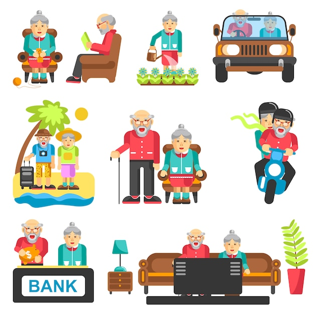 Older people life style vector flat icons Premium Vector