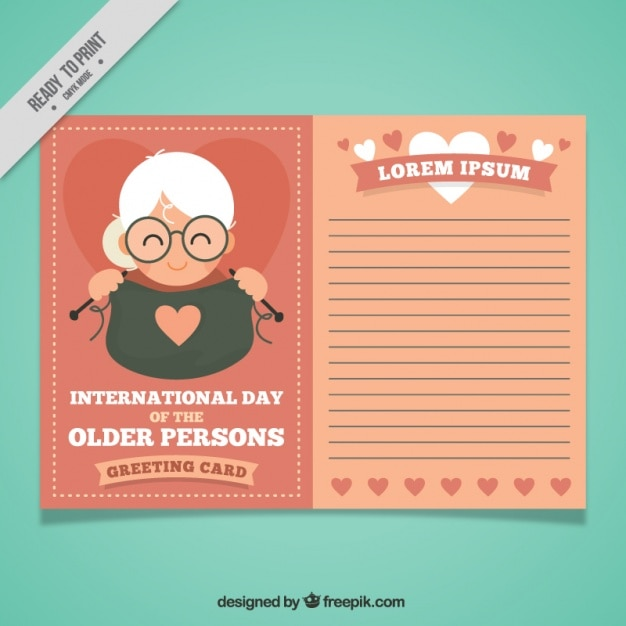 Older person day greeting card template  Free Vector
