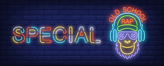 Oldschool rap neon sign. Monkey in sunglasses listening to music in headphones Free Vector