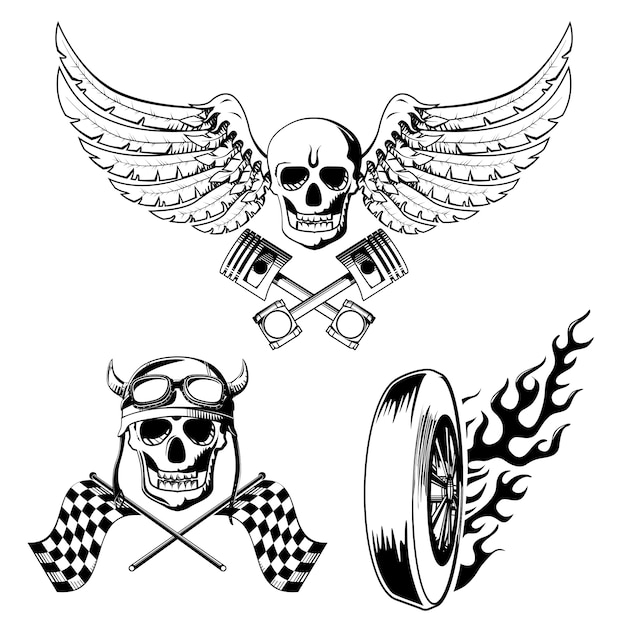 oldschool tattoos set vector