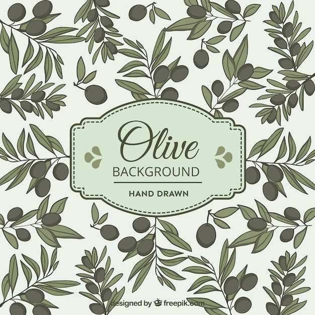 Olive background in hand-drawn style Free Vector
