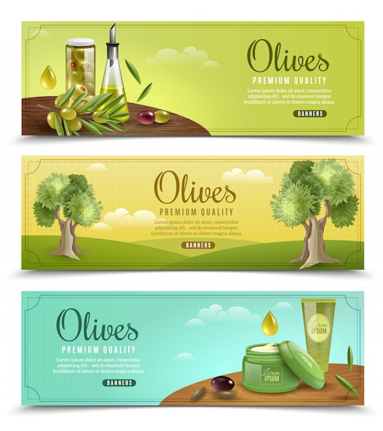 Olive  banners set Free Vector