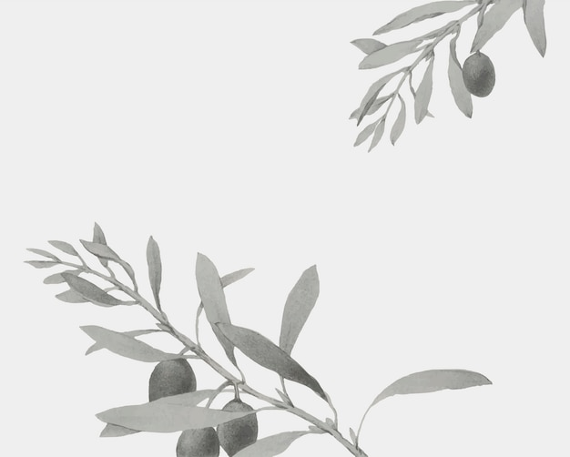 Olive branch on a christmas card Free Vector