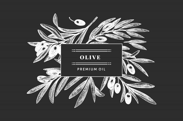 オリーブの枝のテンプレート。手は、チョークボードに食べ物イラストを描いた。刻まれたスタイルの地中海植物。レトロな植物写真。 Premiumベクター