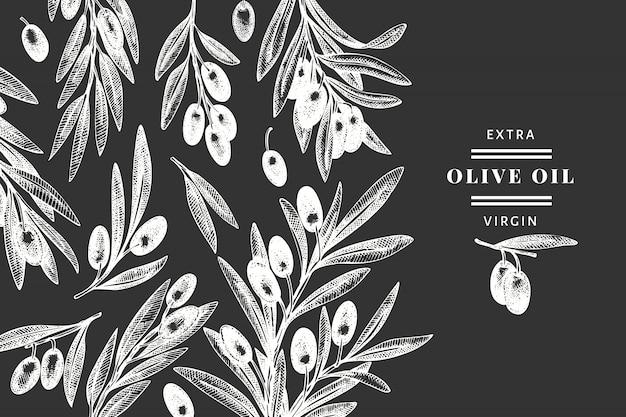 オリーブブランチテンプレート。チョークボードに描かれた食べ物のイラストを手します。刻まれたスタイルの地中海の植物。レトロな植物の写真。 Premiumベクター