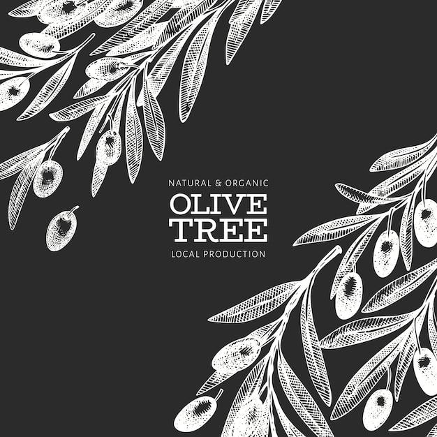 オリーブの枝のテンプレート。手は、チョークボードにベクトル食べ物イラストを描いた。刻まれたスタイルの地中海植物。レトロな植物の写真。 Premiumベクター