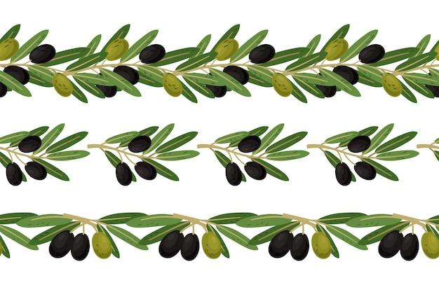 オリーブの枝のシームレスな境界線 Premiumベクター