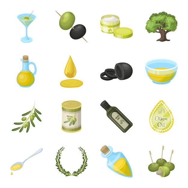 Olive, food cartoon elements in set collection for design. Premium Vector