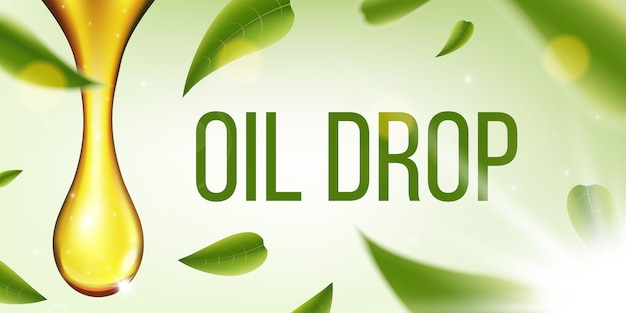 Olive fuel liquid, oil drop, sparkling collagen. Premium Vector