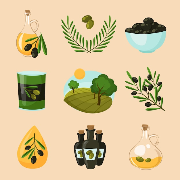 Olive icons set Free Vector