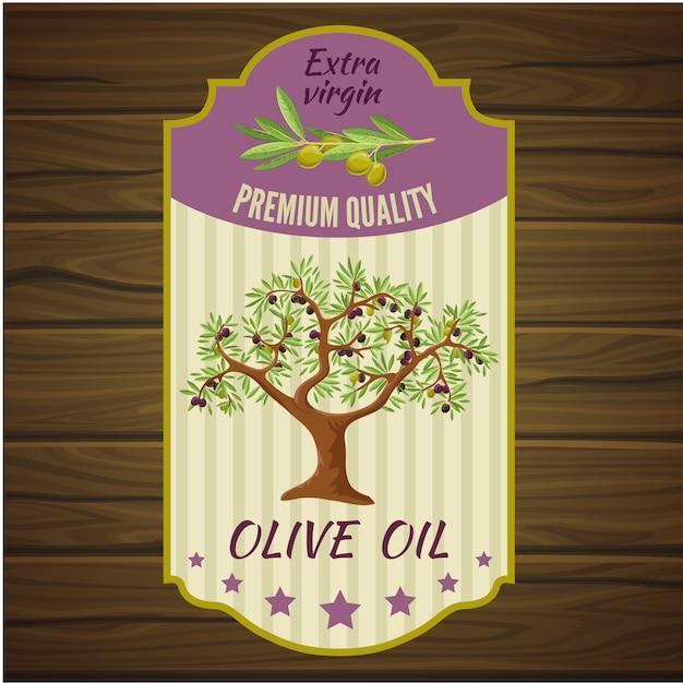木の上のオリーブのラベル Premiumベクター