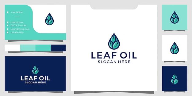 Оливковые листья и масло логотип и дизайн визитной карточки Premium векторы