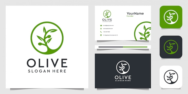 オリーブのロゴイラストグラフィック。植物、葉、花、広告、アイコン、名刺に最適 Premiumベクター