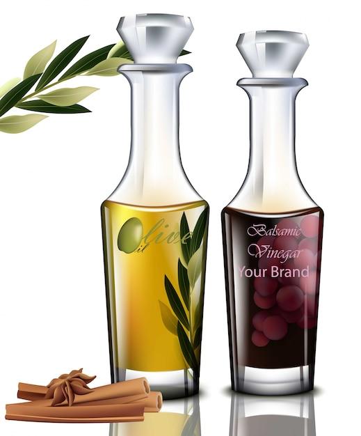 オリーブオイルとバルサミコ酢。現実的な詳細なイラスト Premiumベクター
