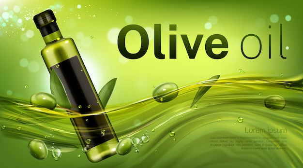 Olive oil bottle banner template, glass blank flask floating in liquid green flow with leaves and berries. vegetable product for healthy cooking promotion advertising. Free Vector