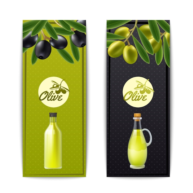 Olive oil bottle and pourer with black and green olives vertical banners set abstract isolated vecto Free Vector