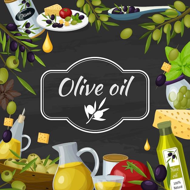 Olive oil cartoon blackboard composition Free Vector