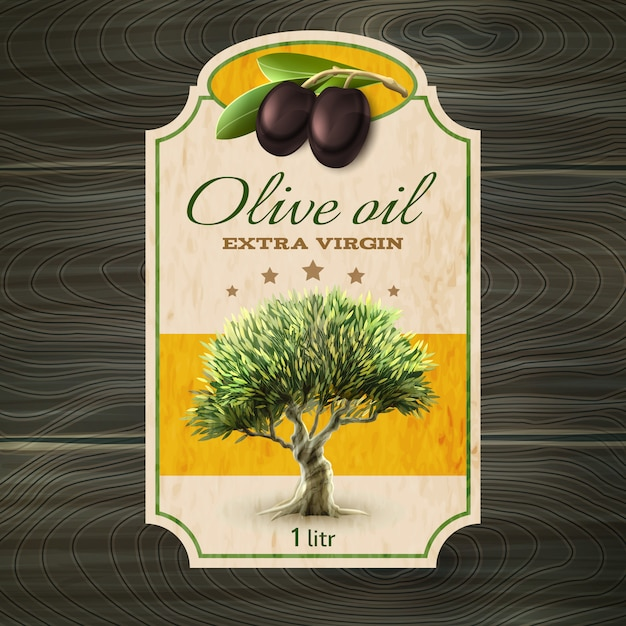 Olive oil label print Free Vector
