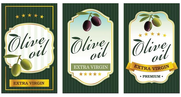 Olive oil label templates Premium Vector