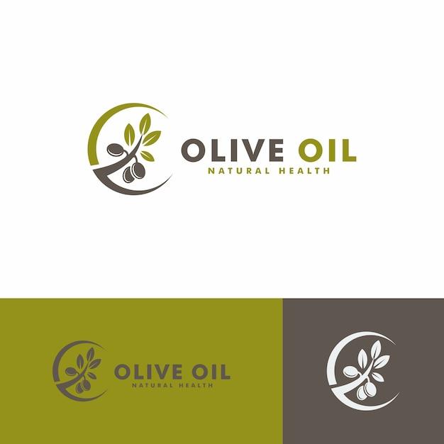 オリーブオイルのロゴデザイン。自然の健康のロゴタイプ Premiumベクター