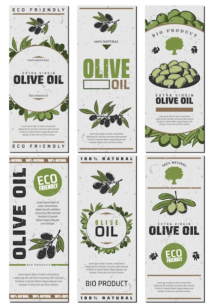 Olive oil packaging templates design set with text green and black olives in vintage style Free Vector