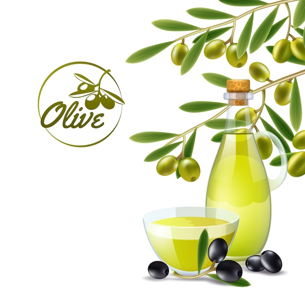 Olive oil pourer with branch of green olives decorative background poster Free Vector