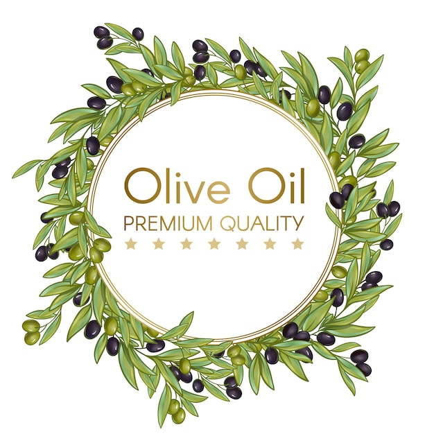 Olive oil round wreath for label Free Vector