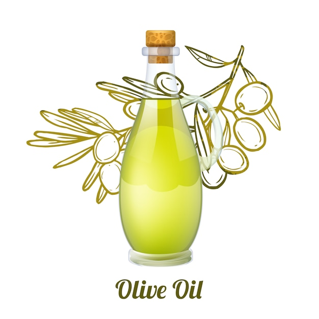 Olive oil sketch concept Free Vector