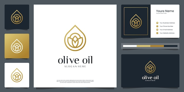 Olive oil or water drop luxury for beauty, cosmetics, yoga and spa. logo and business card Premium Vector