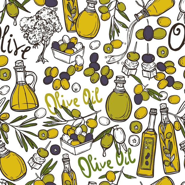 Olive seamless pattern Free Vector