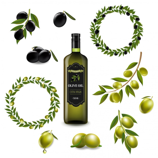 Olive set with wreath isolated white Premium Vector