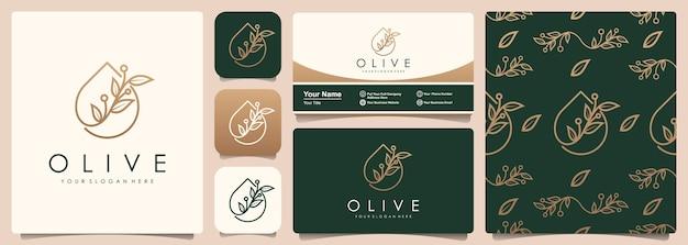パターンと名刺テンプレートのセットとオリーブの木と油のロゴ。 Premiumベクター