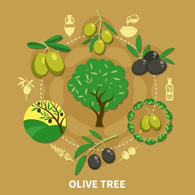 オリーブの木、砂の背景フラットに緑と黒の果物の丸い構成の枝 無料ベクター