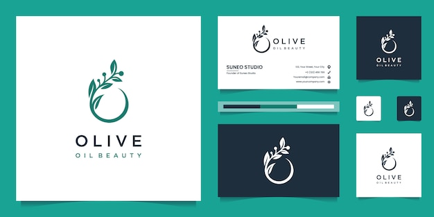 Olive tree and oil logo design and business cards Premium Vector